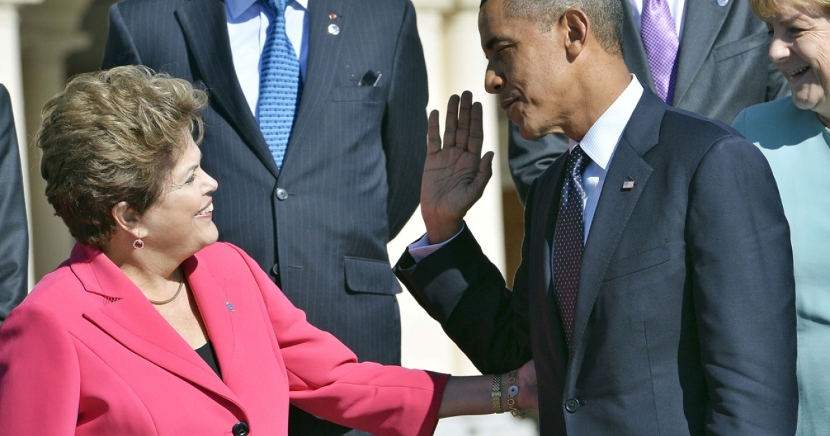 Brazilian President Dilma Rousseff and Barack Obama at the G20 summit in Russia on Sept. 6. When will they meet next?</p>