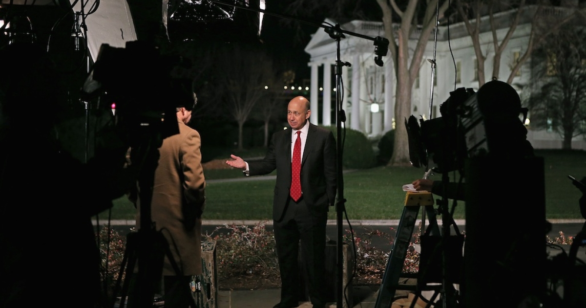 Goldman Sachs back in the spotlight. This picture taken on Nov. 28, 2012, shows Goldman Sachs CEO Lloyd Blankfein being interviewed by television reporters after a meeting at the White House with President Barack Obama and other business leaders.</p>