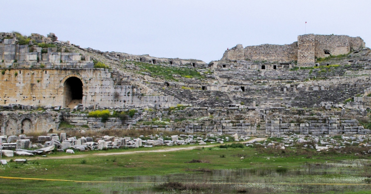 The remains of the ancient theater in Miletus, Turkey.</p>