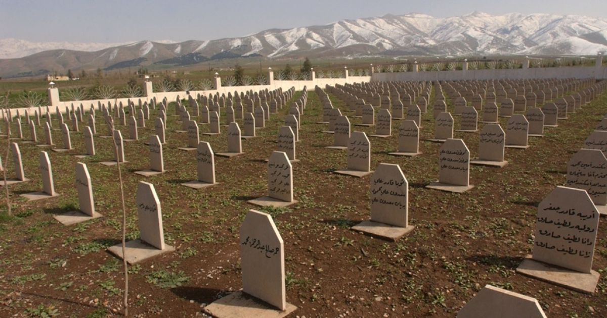 The grave site of many of the 5,000 victims of the 1988 chemical attacks on Halabja, Iraq.</p>
