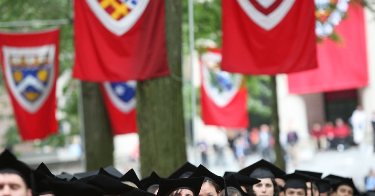 Graduating Harvard University students attend commencement ceremonies June 5, 2008, in Cambridge, Massachusetts</p>