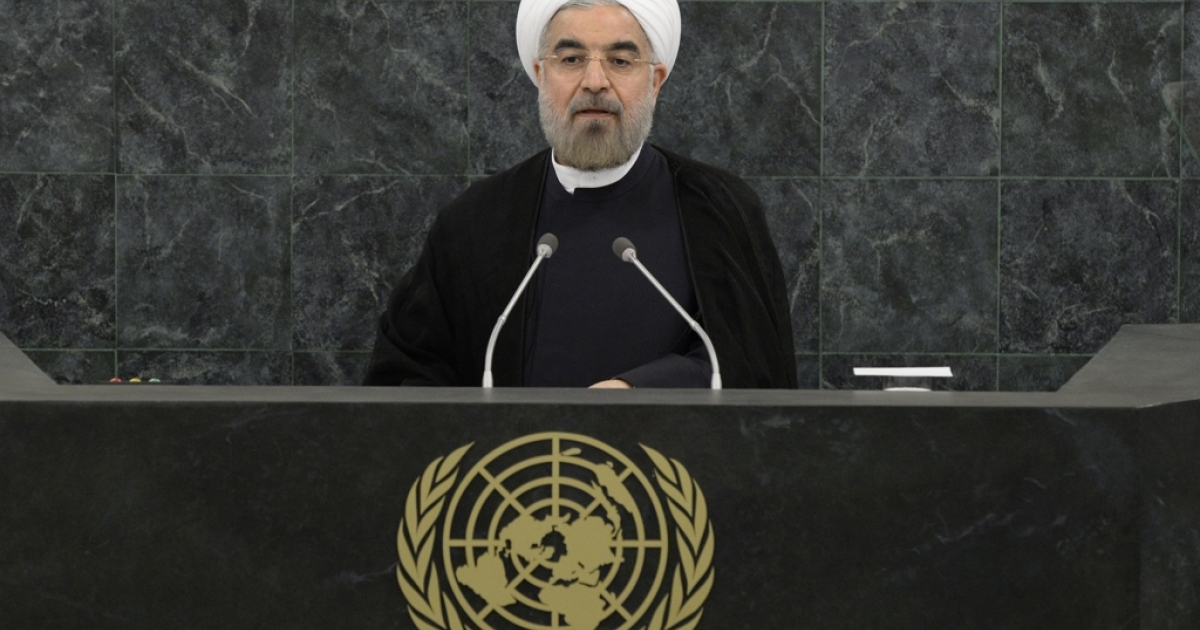Iranian President Hassan Rouhani addresses the UN General Assembly.</p>