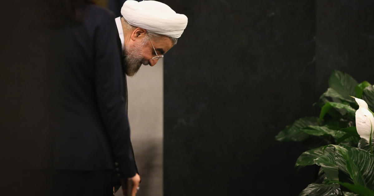 Iranian President Hassan Rouhani prepares to address the UN General Assembly on Sept. 24, 2013 in New York City.</p>