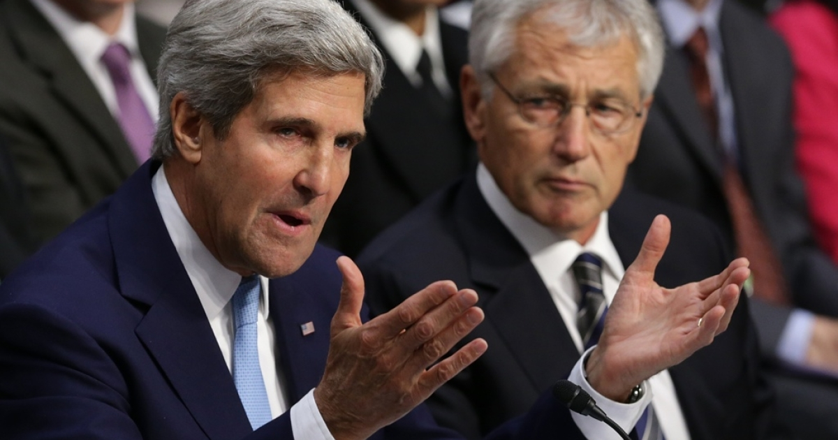 Secretary of State John Kerry and Defense Secretary Chuck Hagel make the case for military action in Syria in a Senate hearing Tuesday.</p>