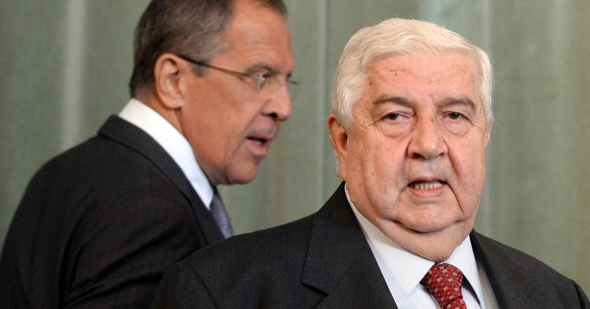 Syrian Foreign Minister Walid Muallem (R) and and his Russian counterpart Sergei Lavrov in Moscow on Monday.</p>