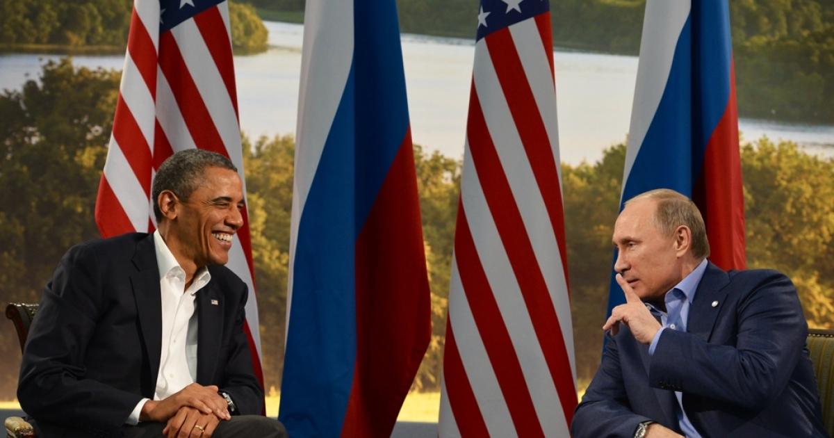 US President Barack Obama (L) holds a bilateral meeting with Russian President Vladimir Putin during the G8 summit at the Lough Erne resort near Enniskillen in Northern Ireland, on June 17, 2013.</p>
