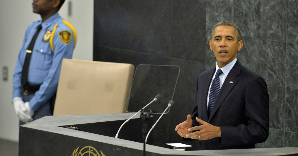 US President Barack Obama addresses the 68th United Nations General Assembly at the UN in New York on September 24, 2013.</p>