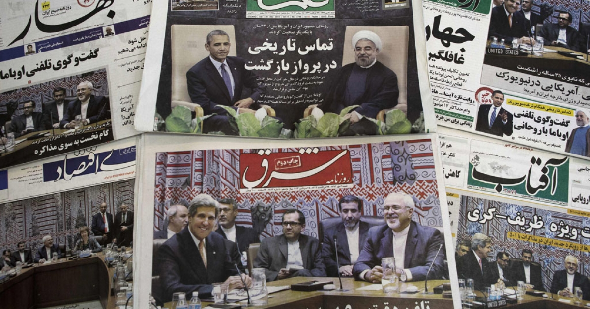 Iranian newspapers depict Iranian President Hassan Rouhani, US President Barack Obama, Iranian Foreign Minister Mohammad Javad Zarif and his American counterpart John Kerry on Sept. 28, 2013. Iranian newspapers hailed the first contact between presidents Rouhani and Obama but warned that opponents like arch-foe Israel would seek to torpedo the historic opening to Washington.</p>