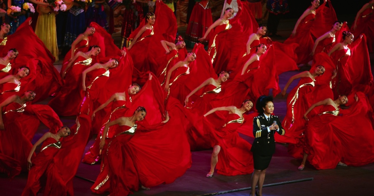Celebrated vocalist Peng Liyuan sings at Beijing's Great Hall of the People in 2007. The wife of President Xi Jinping, Peng is a valuable PR asset for the Communist Party.</p>
