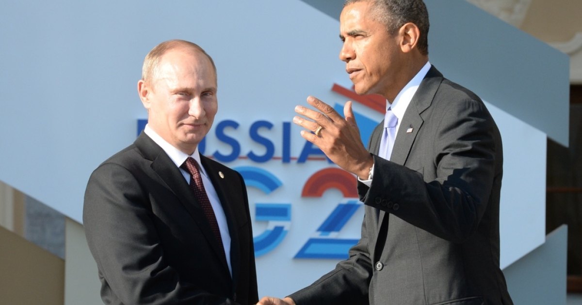 Vladimir Putin and Barack Obama at the G20 summit.</p>