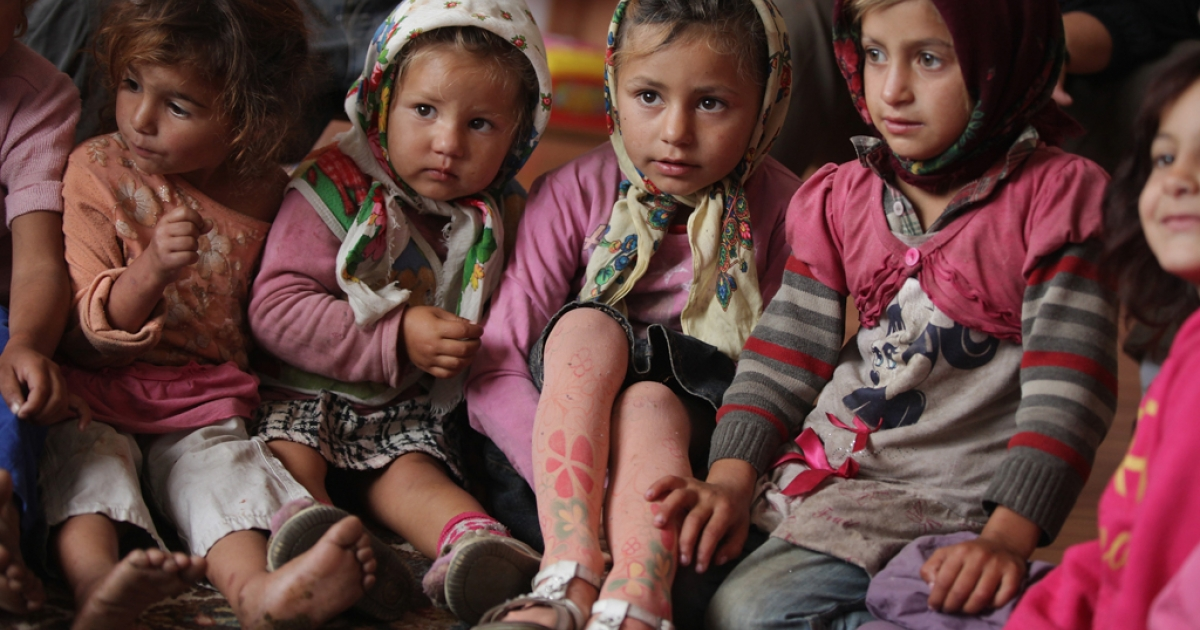 Young Roma children attend a preschool class in the abjectly poor Roma settlement of Ponorata on September 11, 2013 in Ponorata, Romania.</p>