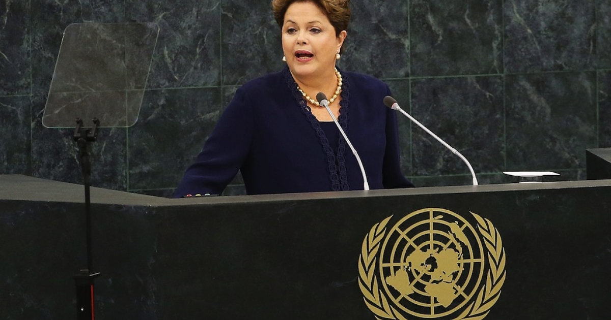 Brazilian president Dilma Rousseff speaks at the UN General Assembly on Sept. 24, 2013 in New York City.</p>