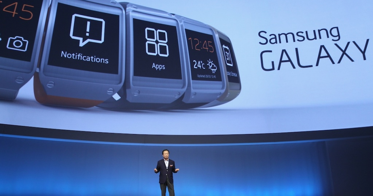 Not, that's not Steve Jobs. Samsung's CEO of IT, J.K. Shin launches the Galaxy Gear smart watch.</p>