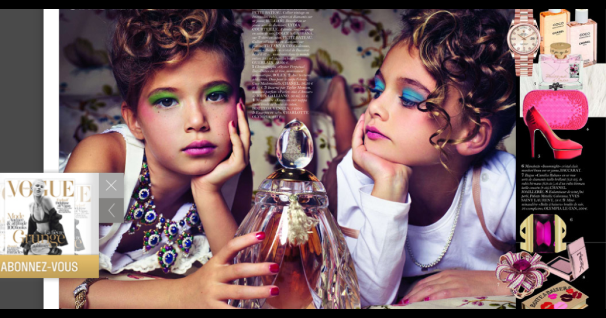 A screengrab of the controversial Vogue photo spread featuring two young girls that has France weighing a ban on child beauty contests.</p>