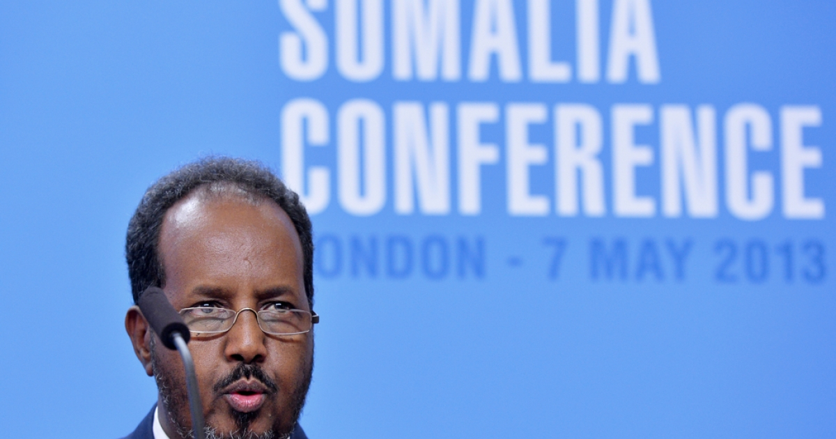 tion:Somali President Hassan Sheikh Mohamud addresses a press conference in London, England in May 2013.</p>