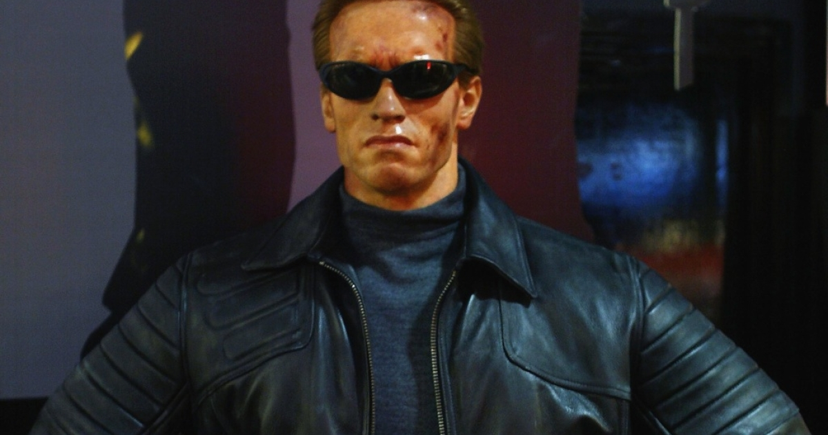 "A Madame Tussauds wax model of Arnold Schwarzenegger's ""Terminator 3"" character at the Virgin Megastore in Oxford Street, London, on Nov. 28, 2003.</p>"