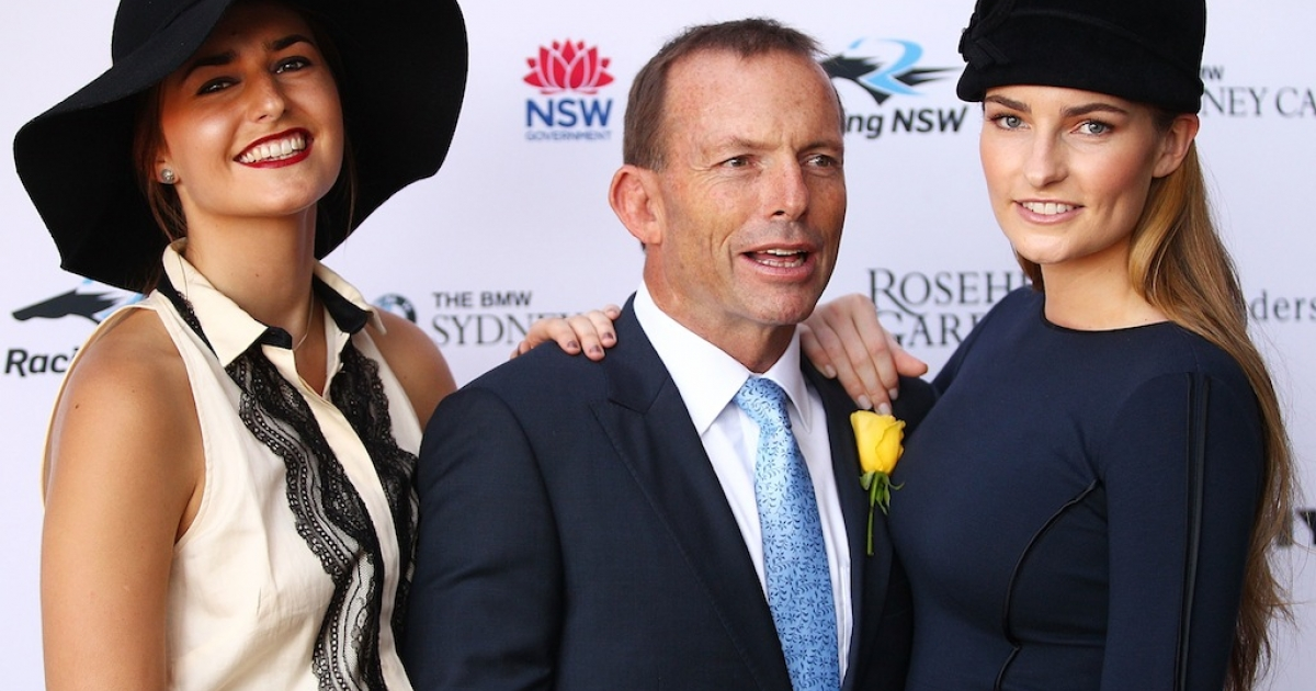 Tony Abbott poses with his daughters Bridget and Frances at Rosehill Gardens on April 7, 2012 in Sydney, Australia. Abbott is the frontrunner to become Australia's next prime minister.</p>