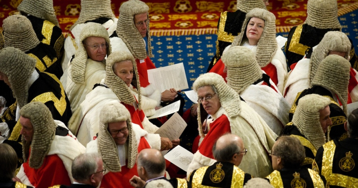 Peers look on during the State Opening of Parliament, at the Houses of Parliament in London on May 8, 2013.</p>