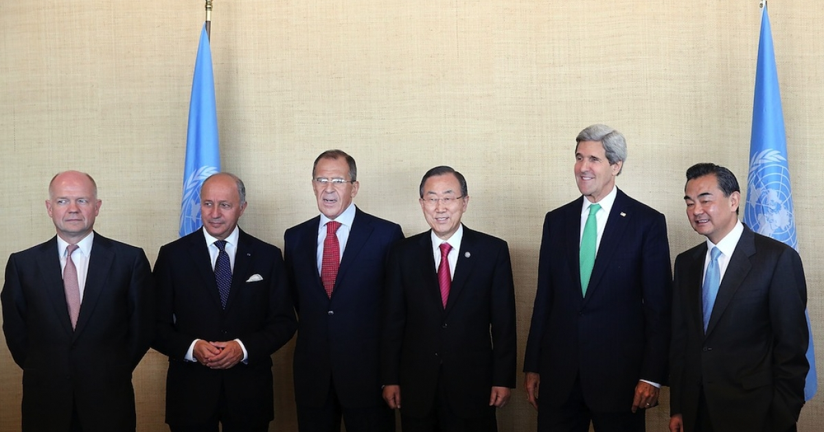 NEW YORK, NY - SEPTEMBER 25: Secretary-General of the United Nations Ban Ki-moon (3R) and members of the P5+1 group (L-R) British Foreign Secretary William Hague, French Foreign Minister Laurent Fabius, Russian Foreign Minister Sergei Lavrov, U.S. Secretary of State John Kerry and Foreign Minister of the People's Republic of China Wang Yi pose for photographers before the start of a meeting during the annual U.N. General Assembly on September 25, 2013 in New York City.</p>