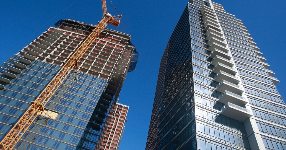 Construction continues on luxury condominiums in New York City.</p>
