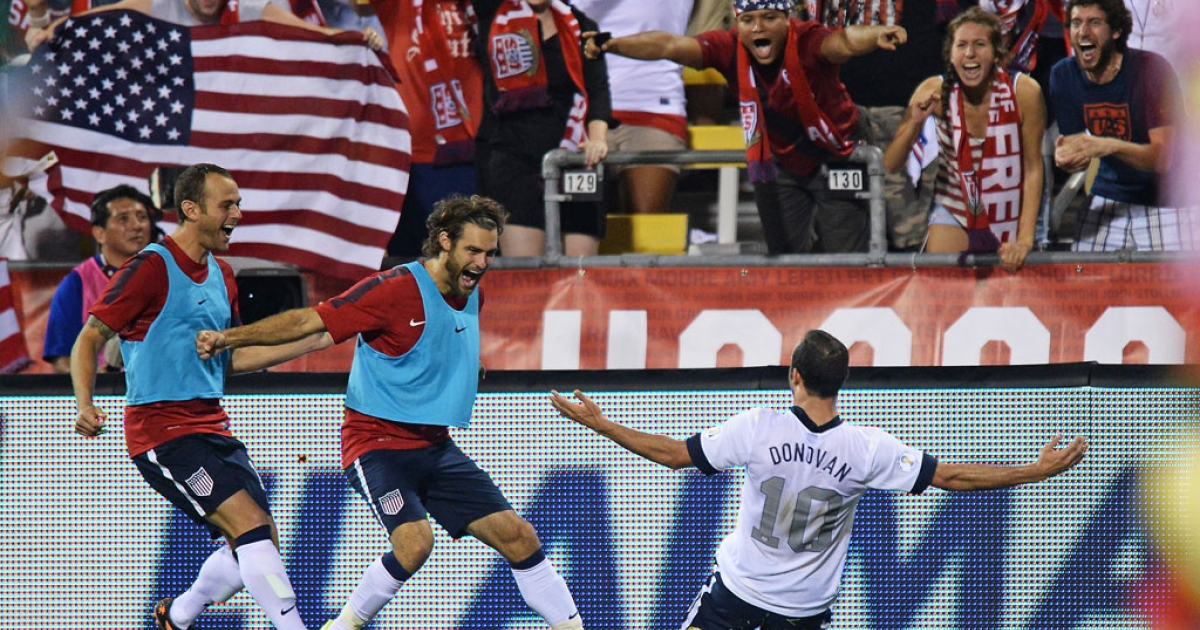 Landon Donovan of the United States soccer team celebrates his second-half goal against Mexico with teammates Brad Davis, far left, and Graham Zusi on Sept. 10, 2013, in Columbus, Ohio. The United States defeated Mexico 2-0.</p>