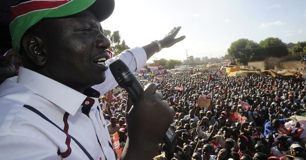 Kenya's Deputy President William Ruto addresses supporters during a political rally in the capital Nairobi on Feb. 13, 2013.</p>