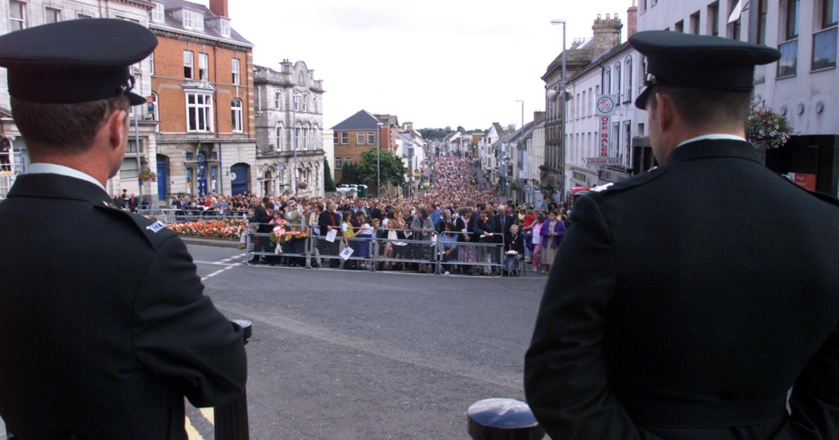 Omagh town centre is packed to capacity on August 15, 1999 as the town's people attend a service to mark the first anniversary of Northern Ireland's worst single terrorist incident which killed 29 people and wounded some 250. The remembrance took place in a mood marred by overnight rioting and pessimism over the peace process.</p>