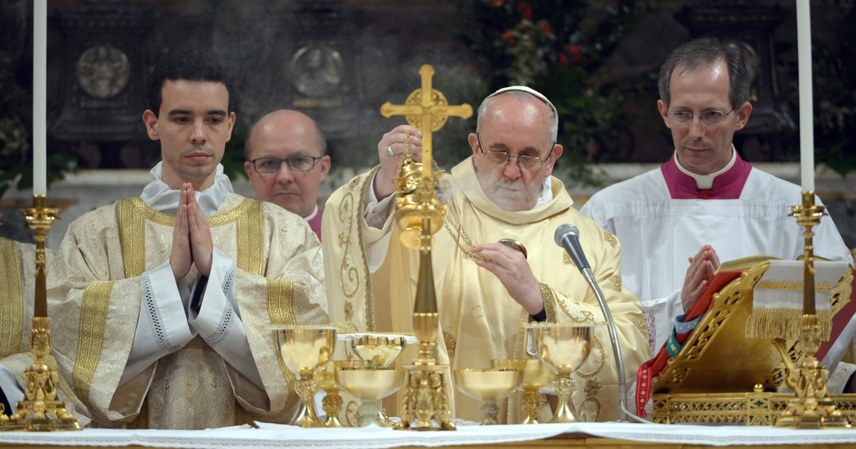 Jorge Mario Bergoglio attends his first Mass with cardinals as Pope Francis in the Sistine Chapel on March 14, 2013 in Vatican City, Vatican. A day after thousands gathered in St Peter's Square to watch the announcement of the first ever Latin American pontiff it has been announced that Pope Francis' inauguration mass will be held on March 19, 2013 in Vatican City.</p>