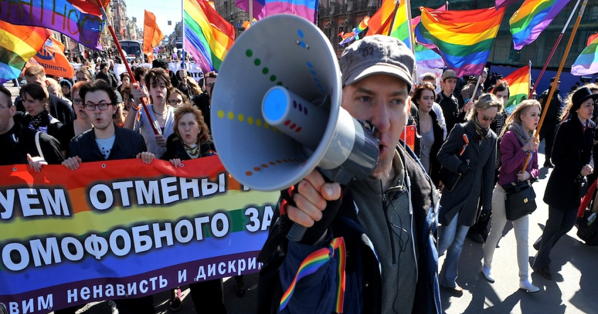 May 1, 2013 — Gay rights activists march in Russia's second city of St. Petersburg during their rally against a controversial law.</p>