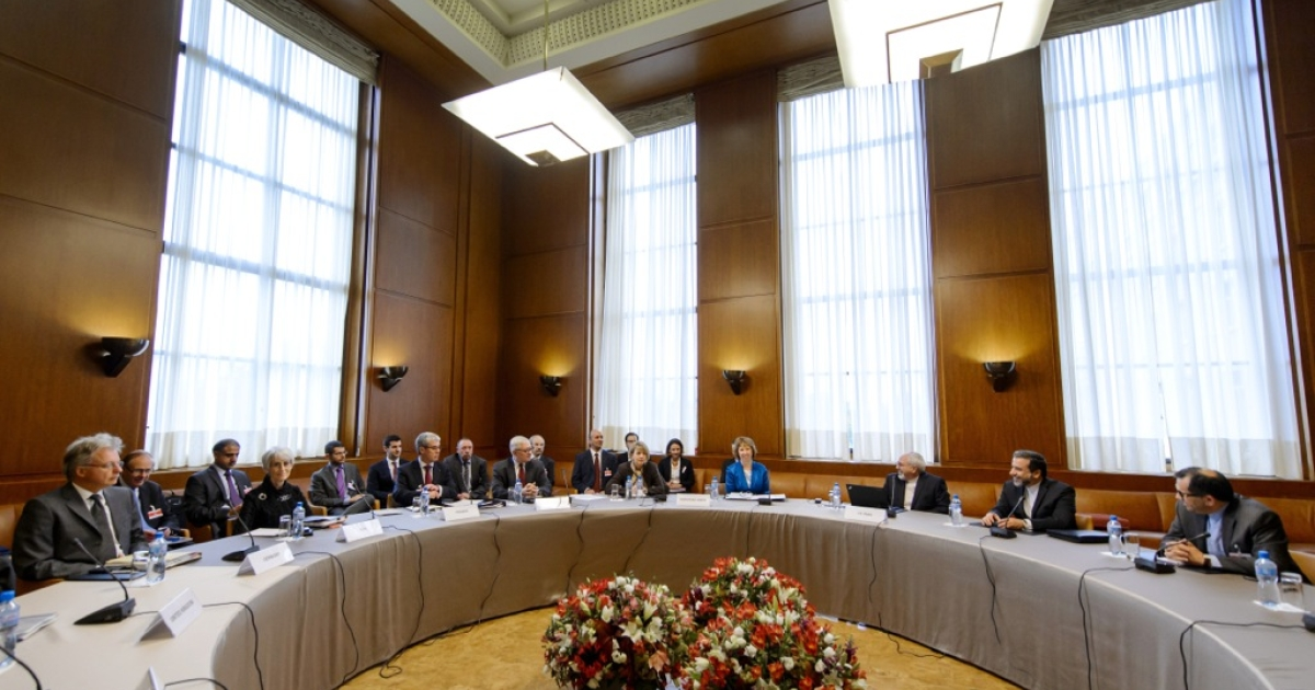 The delegations of Iran and Western powers sit prior the start of two days of closed-door nuclear talks on Oct. 15, 2013 at the United Nations offices in Geneva.</p>