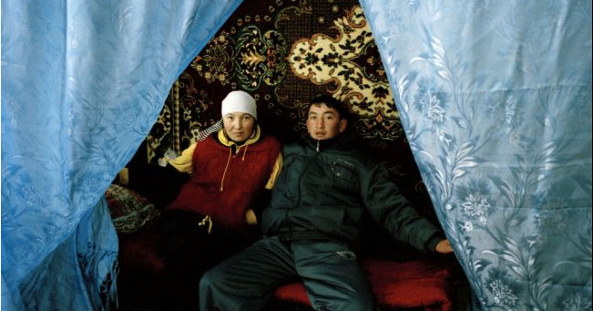 Aizat and Murat three days after the kidnap and forced betrothal of Aizat in Issk-Kul Oblast. She resisted marriage to Murat, a stranger, for as long as possible but was persuaded to go through with it by Murat's grandmother who, at 82, commands much respect according to Kyrgyz lore. During a kidnap, elders are often summoned in order to influence the bride to stay.</p>