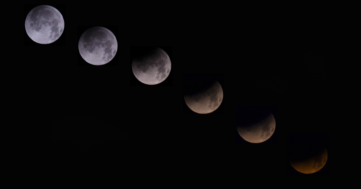 A combination of 6 pictures shows the moon in different stages of a total lunar eclipse seen from the Spanish Canary island of Tenerife on April 15, 2014. People in most of north and south America should be able to witness this year's first total lunar eclipse, which will cause a 'blood moon' and is the first of four in a rare Tetrad of eclipses over the next two years.</p>