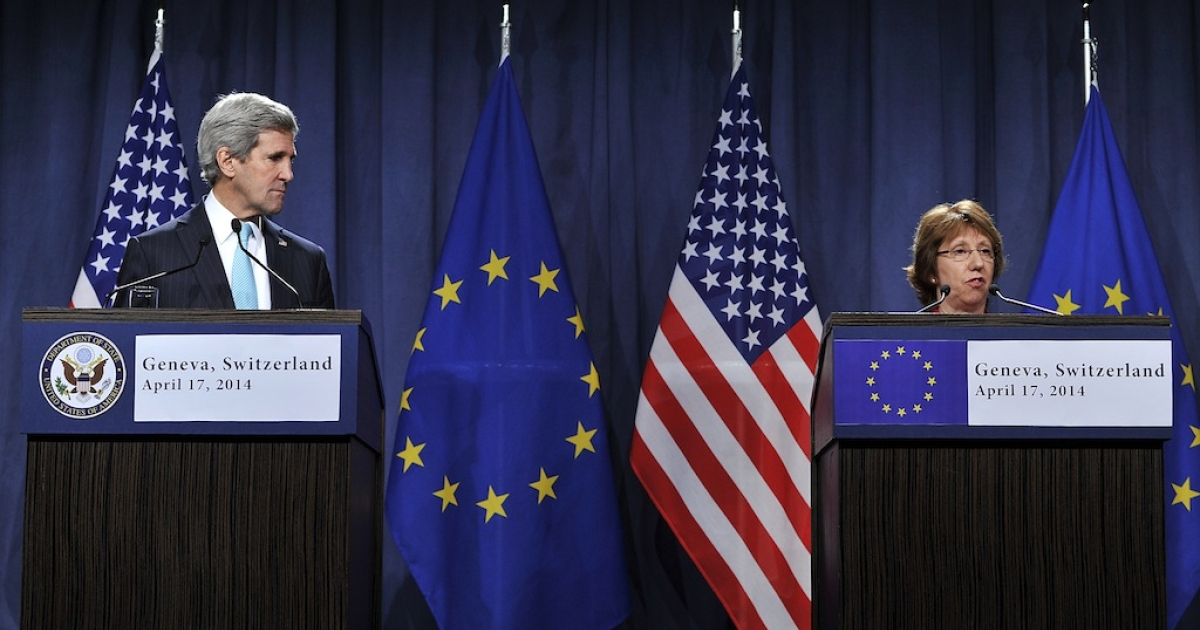 US Secretary of State John Kerry and EU Foreign Policy Chief Catherine Ashton speak during a press conference at the Intercontinental hotel on April 17, 2014 in Geneva, Switzerland. Leaders from EU, US, Ukraine and Russia are meeting today in Geneva to deescalate the crisis in Ukraine and to find a political solution.</p>
