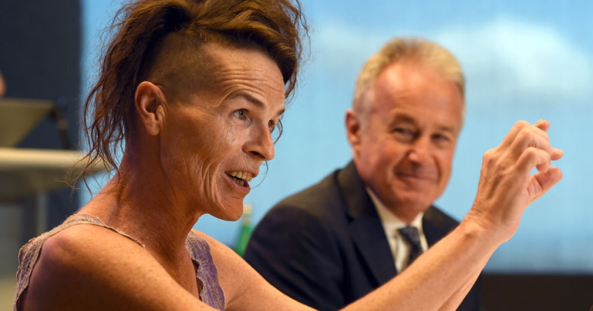 Norrie (L), who uses only a first name and does not identify as either male or female, speaks at a press conference with her lawyer Scott McDonald (R) in Sydney on April 2, 2014, after Australia's highest court recognized the existence of a third 'non-specific' gender that is neither male nor female, in a landmark ruling advocates said ended years of discrimination.</p>