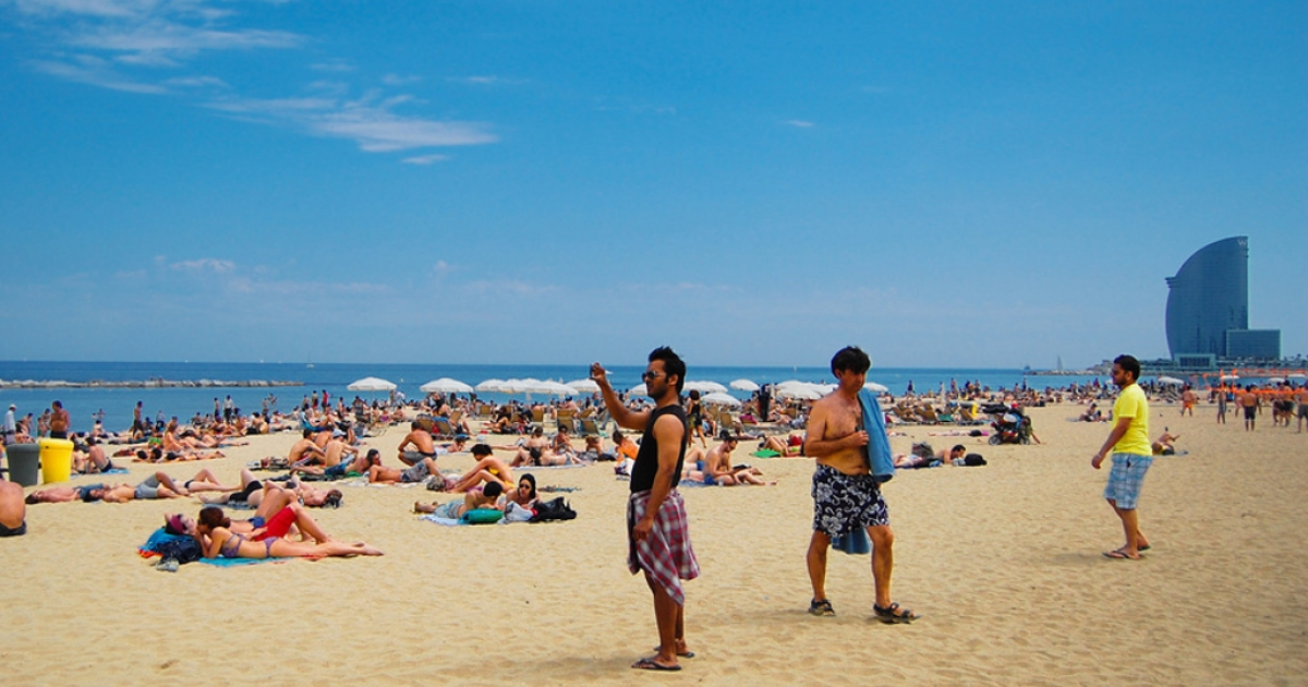 The beach in Barcelona, Spain.</p>
