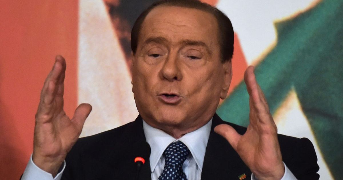 Former Italian Prime Minister Silvio Berlusconi speaks during a press conference in Rome on April 17, 2014.</p>