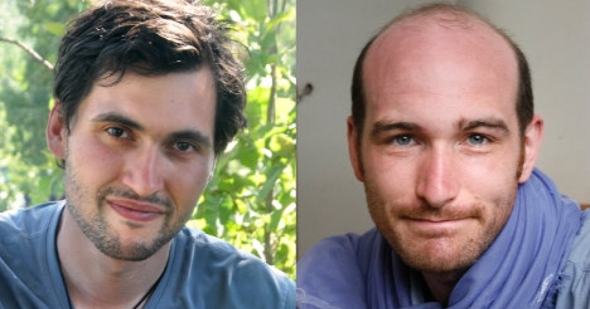 French journalists Pierre Torres (left) and Nicolas Henin (right) were among those freed in Syria, April 19, 2014.</p>