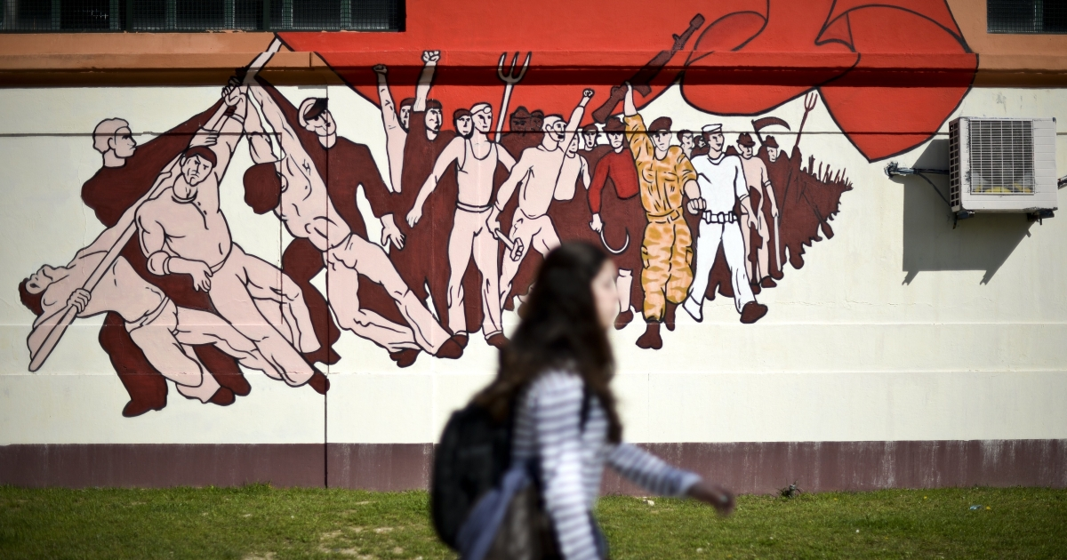 A Lisbon mural marks the 40th anniversary of Portugal's Carnation Revolution.</p>