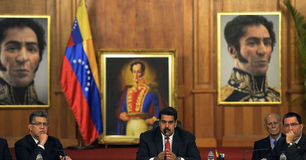 Venezuelan President Nicolas Maduro sat down for talks with rival Henrique Capriles on April 10, 2014 in a first meeting with senior opposition figures to try to end two months of protests.</p>