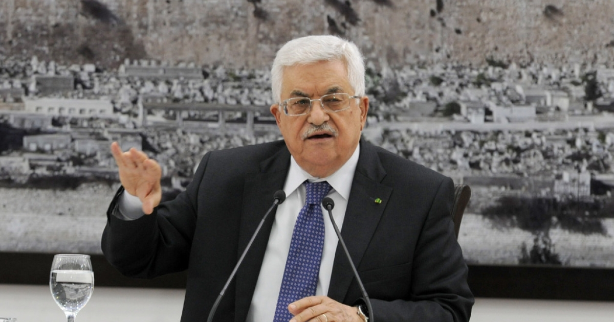 In this handout photo provided by the Palestinian Press Office, Palestinian President Mahmoud Abbas speaks during a press meeting on April 22, 2014 in Ramallah, West Bank.</p>
