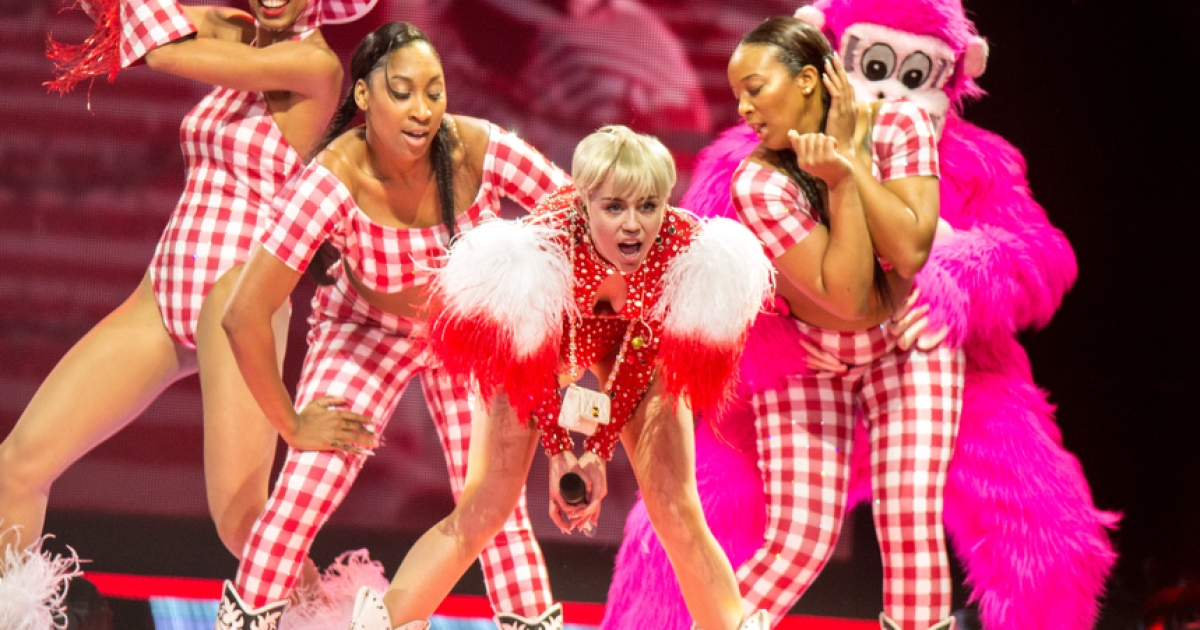 Miley Cyrus performs at the Honda Center in Anaheim, California, on Feb. 20, 2014.</p>