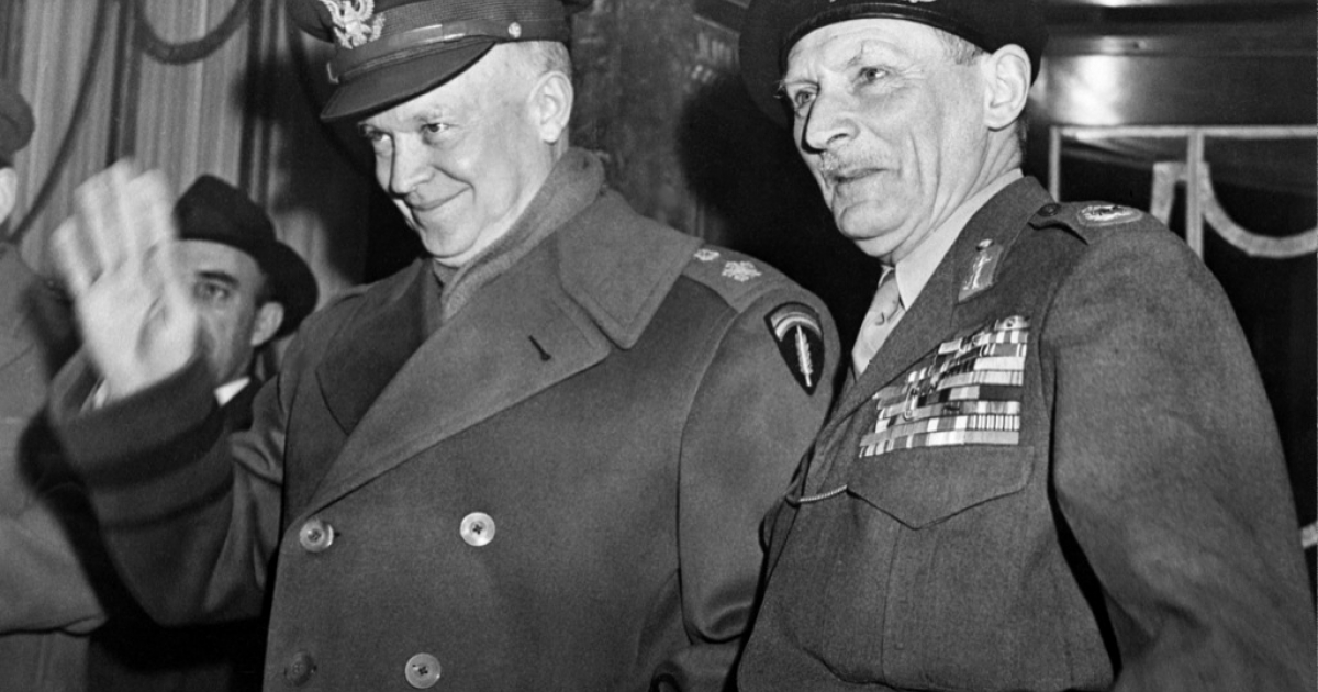 US General Dwight David Eisenhower, then supreme commander of the Combined Land Forces in NATO, waves as he poses with British Marshal Bernard Law Montgomery, deputy NATO chief, in 1951 in Paris. In 1952 the popularity Eisenhower had gained in Europe swept him to victory in the US presidential elections.</p>