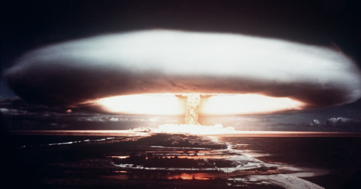 A French nuclear test in the south Pacific atoll of Mururoa.</p>