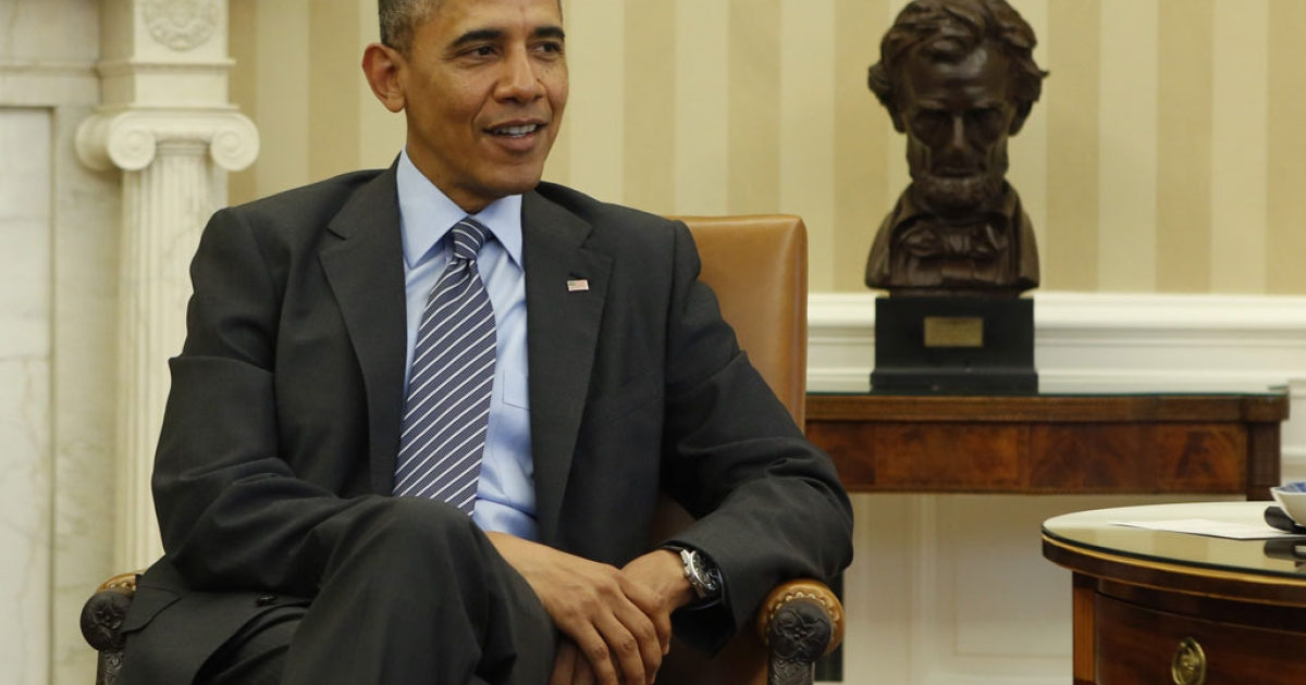 US President Barack Obama in the Oval Office at the White House in Washington, DC.</p>