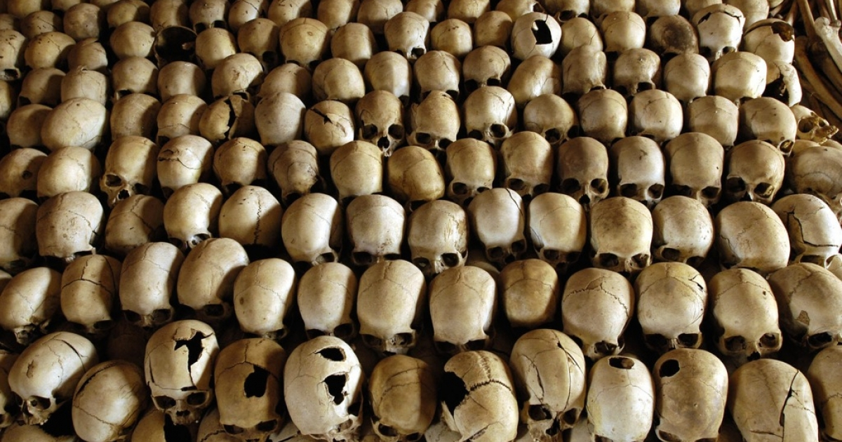 Skulls of victims of the Ntarama massacre during the 1994 genocide are lined in the Genocide Memorial Site church of Ntarama, in Nyamata 27 February 2004. In the Bugesera province, where the small town of Nyamata is located, the 1994 Rwandan genocide was particularly brutal. Among the 59.000 Tutsis who lived in the province, 50.000 were killed during the genocide, and among them 10.000 were slain in the church. AFP PHOTO/GIANLUIGI GUERCIA        (Photo credit should read GIANLUIGI GUERCIA/AFP/Getty Images)</p>