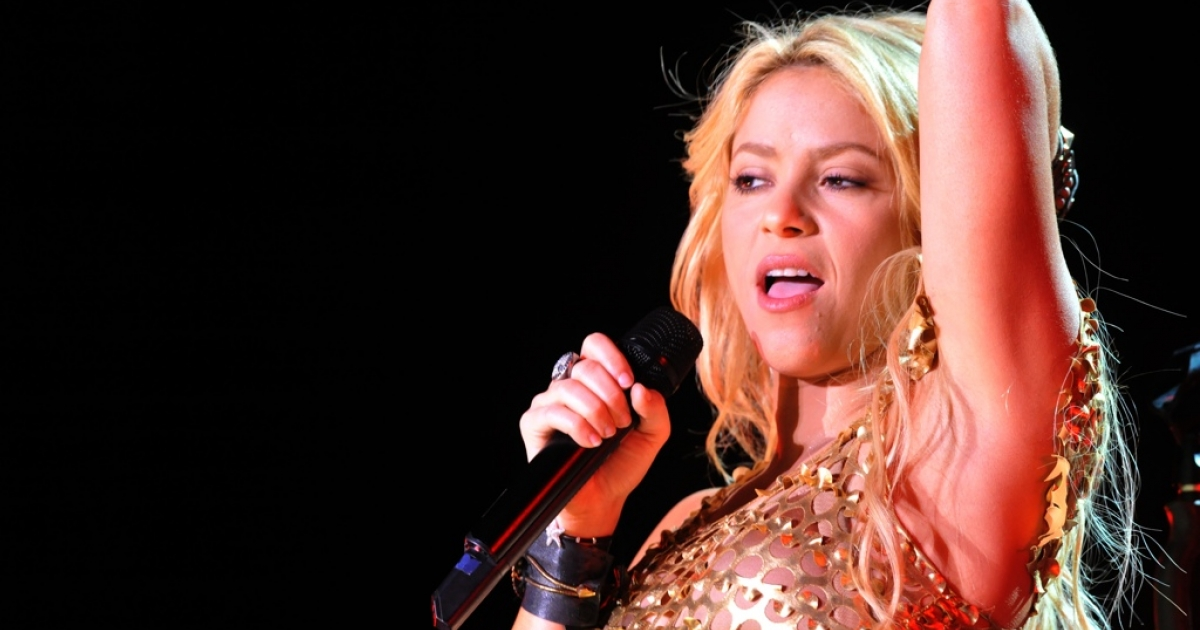 Colombian singer Shakira performs in Rabat in 2011.</p>