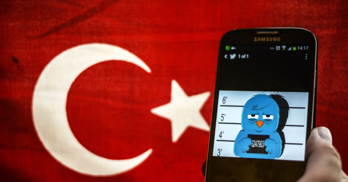 A picture representing a mugshot of the twitter bird is seen on a smart phone with a Turkish flag on March 26, 2014 in Istanbul.</p>