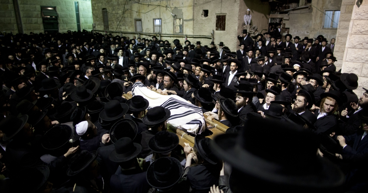 The body of Ultra Orthodox Jew Avraham Walles is shown during his funeral in Jerusalem.</p>