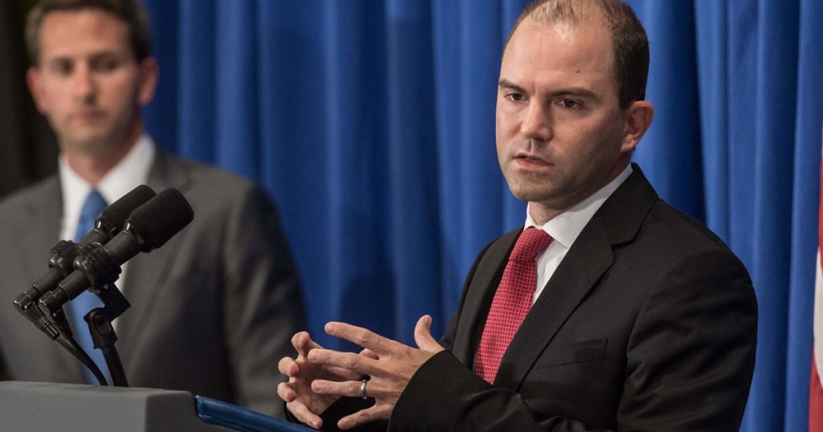 US Deputy National Security Adviser Ben Rhodes briefs the press at Martha's Vineyard, Mass., on Aug. 22, 2014.</p>