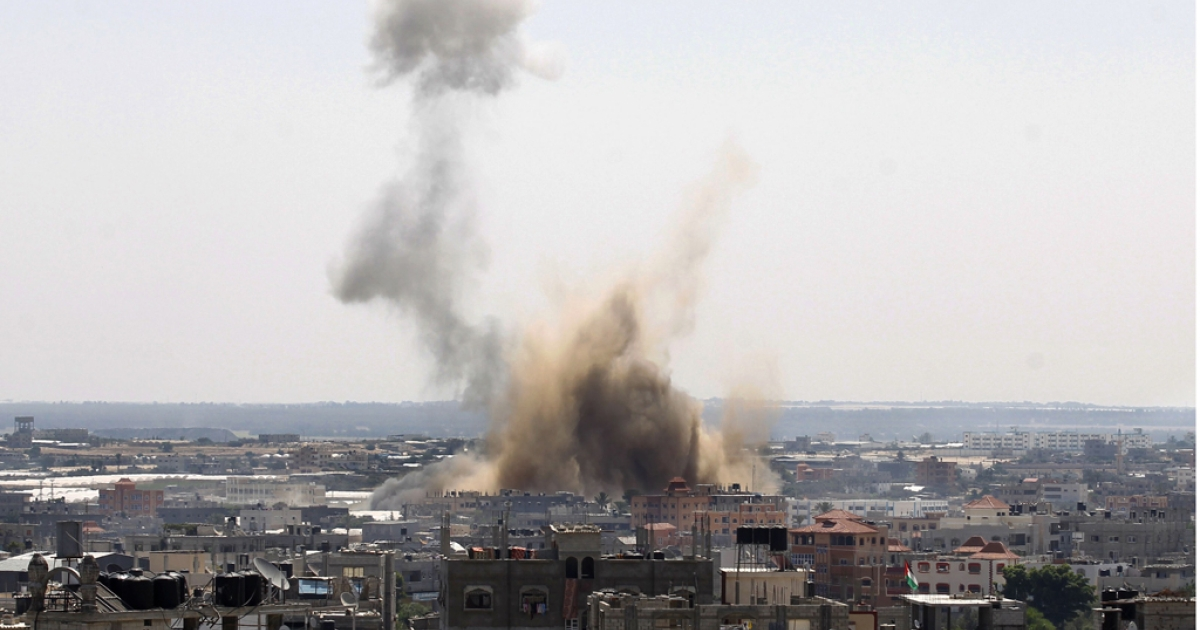 An Israeli airstrike hit Rafah, in southern Gaza, on Aug. 08 after rocket attacks by Palestinians marked the end of a three-day ceasefire.</p>